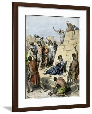 Apostle Stephen Stoned to Death for Preaching Christianity, 36 Ad--Framed Giclee Print