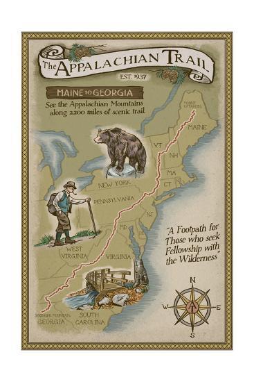 Appalachian Trail Map Art Print by Lantern Press | Art.com