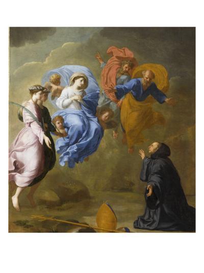 Apparition de la Vierge accompagnée de sainte Agnès et de sainte Thècle à saint Martin-Eustache Le Sueur-Giclee Print