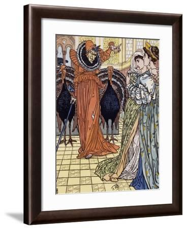 Apparition of Witch Accompanied by Two Peacocks, Engraving from Drawing by Walter Crane--Framed Giclee Print