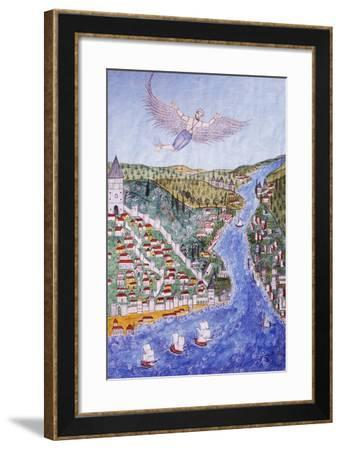 Appearance of Man Flying Above the Golden Horn in Istanbul--Framed Giclee Print