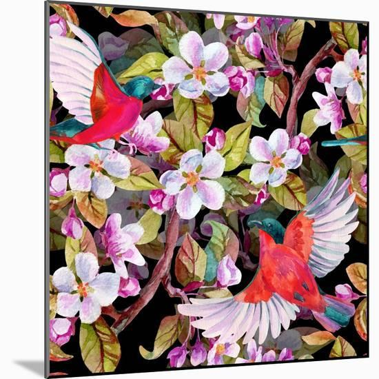 Apple Blossom and Flying Birds-tanycya-Mounted Premium Giclee Print