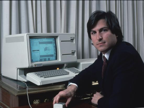 Apple Computer Chrmn. Steve Jobs with New Lisa Computer During Press Preview-Ted Thai-Premium Photographic Print