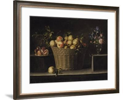 Apples in a Wicker Basket, an Pomegranate on a Silver Plate and Flowers in a Glass Vase-Juan de Zurbarán-Framed Giclee Print