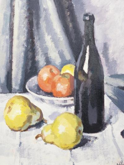 Apples, Pears and a Black Bottle on a Draped Table-Samuel John Peploe-Giclee Print