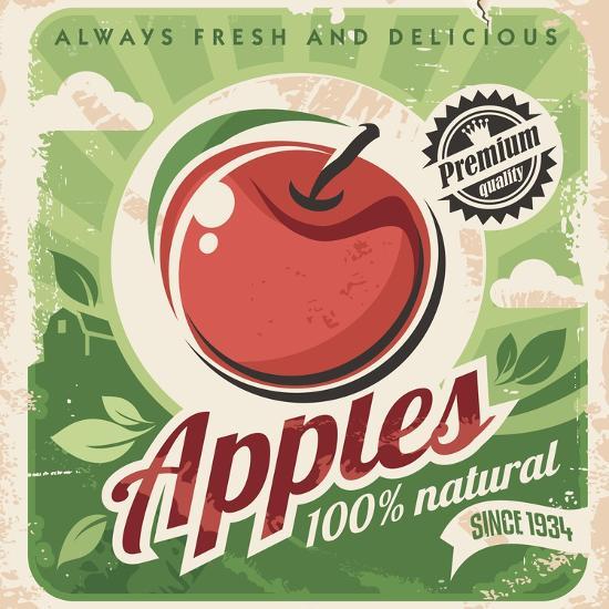 Apples Retro Poster-Lukeruk-Art Print