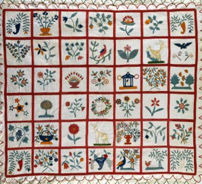 Appliqued Cotton Quilt Coverlet, Probably New York, Dated January 15th, 1859