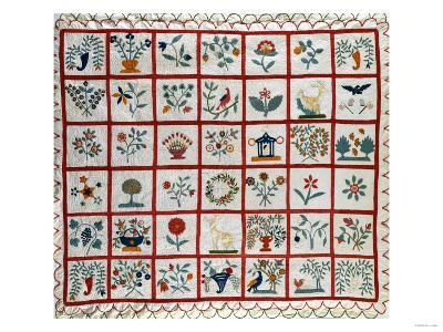 Appliqued Cotton Quilt Coverlet, Probably New York, Dated January 15th, 1859--Giclee Print
