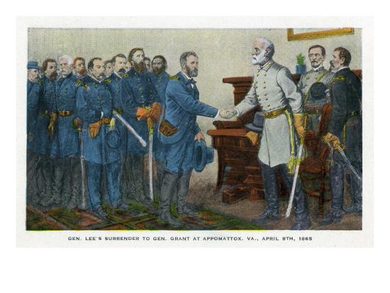 Appomattox, Virginia, Representation of Lee Surrendering to Grant on April 9, 1865-Lantern Press-Art Print