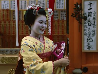 Apprentice Geisha (Maiko), Woman Dressed in Traditional Costume, Kimono, Kyoto, Honshu, Japan--Photographic Print
