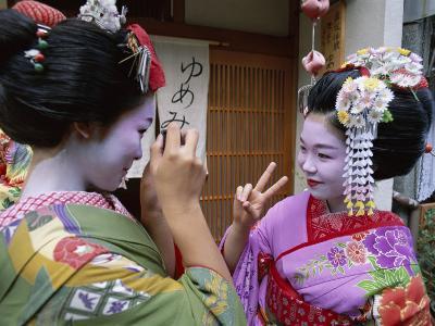 Apprentice Geisha (Maiko), Women Dressed in Traditional Costume, Kimono, Kyoto, Honshu, Japan--Photographic Print