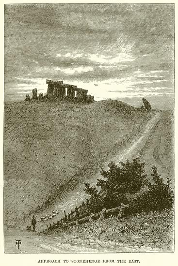 Approach to Stonehenge from the East--Giclee Print