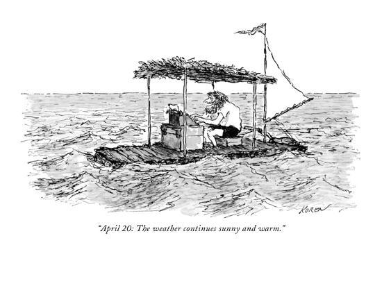 """April 20: The weather continues sunny and warm."" - New Yorker Cartoon-Edward Koren-Premium Giclee Print"
