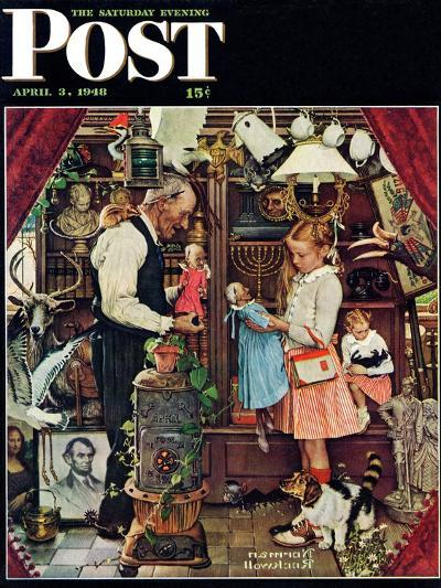 """""""April Fool, 1948"""" Saturday Evening Post Cover, April 3,1948-Norman Rockwell-Giclee Print"""