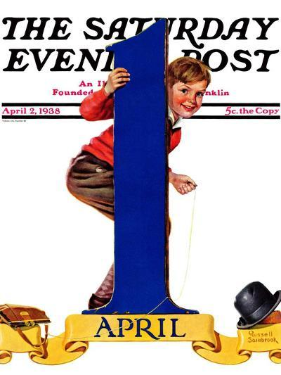 """""""April Fool's Day,"""" Saturday Evening Post Cover, April 2, 1938-Russell Sambrook-Giclee Print"""