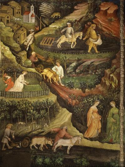 April or Aries with Ploughing with Oxen, Women in Garden and Rabbits in Forest- Venceslao-Giclee Print