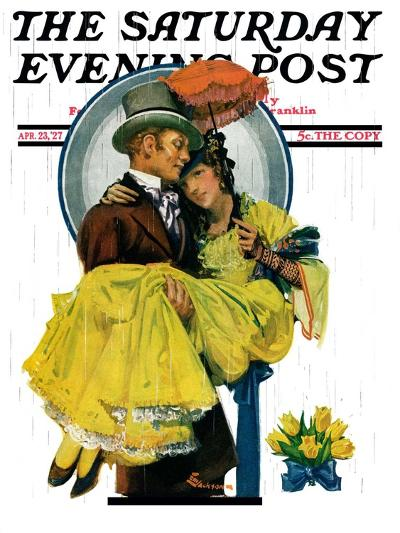 """April Shower,"" Saturday Evening Post Cover, April 23, 1927-Elbert Mcgran Jackson-Giclee Print"
