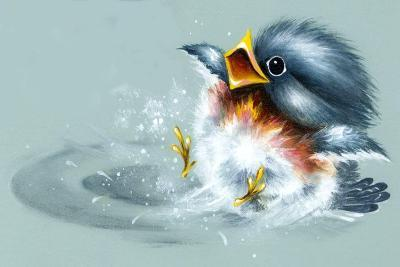 April Showers - Bird Puddle-Peggy Harris-Giclee Print