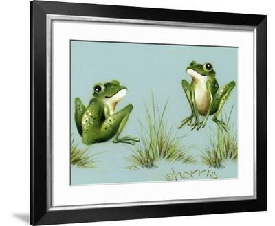 April Showers - Frogs with Grass-Peggy Harris-Framed Giclee Print