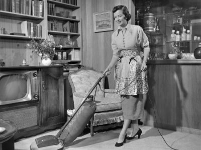 Apron Housewife Vacuuming Den-George Marks-Photographic Print