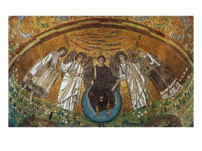 Apse Conch - Jesus on a Globe with Two Angels, St Vitale and the Bishop Ecclesio--Giclee Print