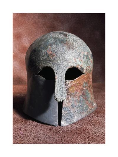 Apulian-Corinthian Bronze Helmet from Serra Lustrante, Armento, Basilicata, Italy--Giclee Print