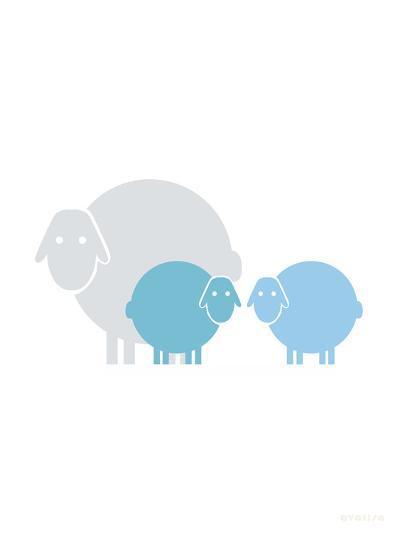 Aqua Baby Sheep-Avalisa-Art Print