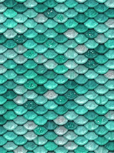 Aqua Glitter Mermaid Scales-Grab My Art-Art Print