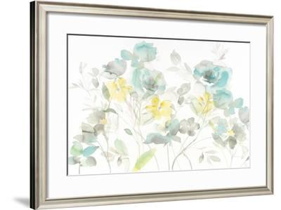 Aqua Roses Shadows-Danhui Nai-Framed Art Print