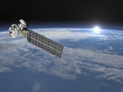 Aqua Satellite Orbiting Earth and Rising Sun--Art Print