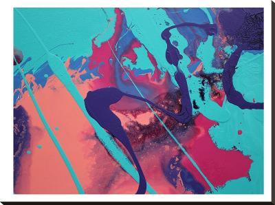 Aqua Splatters-Deb McNaughton-Stretched Canvas Print