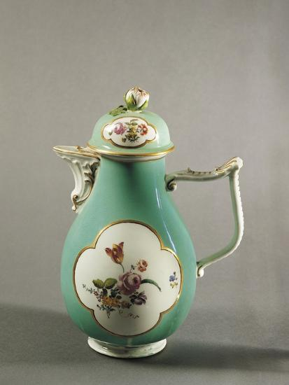 Aquamarine Coffee Pot with Floral Decoration and Gilt Freizes, 1750--Giclee Print