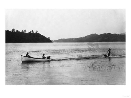 Aquaplaning on the Lake - Clear Lake, CA-Lantern Press-Art Print