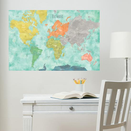 Aquarelle World Map Wall Decal Wall Decal By Art Com