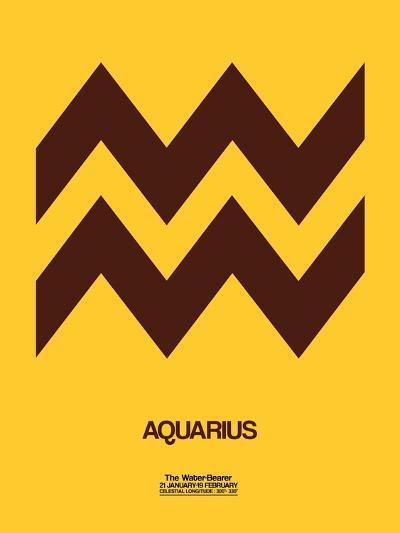 Aquarius Zodiac Sign Brown-NaxArt-Art Print