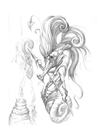Aquatic Seahorse Warrior Pencil-Jeff Haynie-Giclee Print