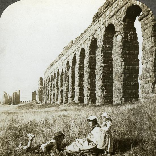 Aqueduct of Claudius and the Campagna, Rome, Italy-Underwood & Underwood-Photographic Print