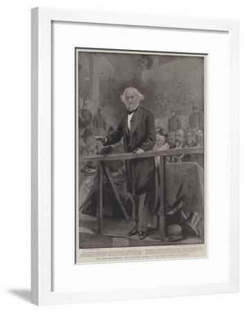 Ar Aremenian Question, Mr Gladstone Speaking at the Town Meeting at Liverpool-Sydney Prior Hall-Framed Giclee Print