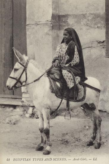 Arab Girl Riding a Donkey--Photographic Print