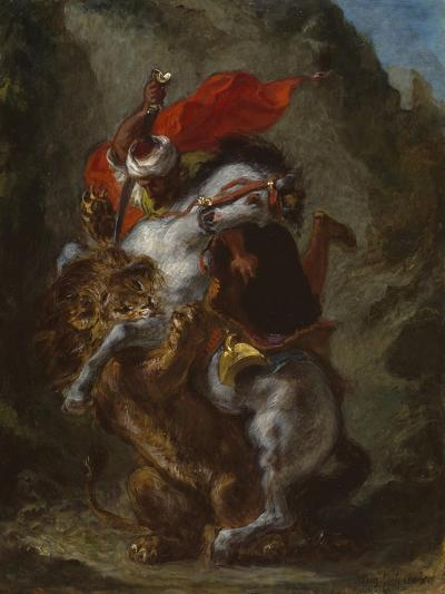 Arab Horseman Attacked by a Lion, 1849-50-Eugene Delacroix-Giclee Print