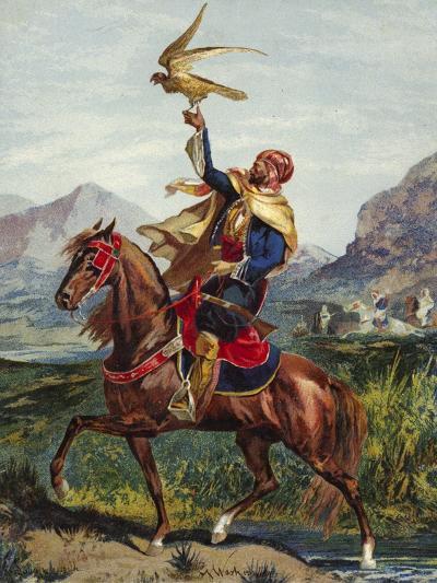 Arab Horseman, with Hawk--Giclee Print