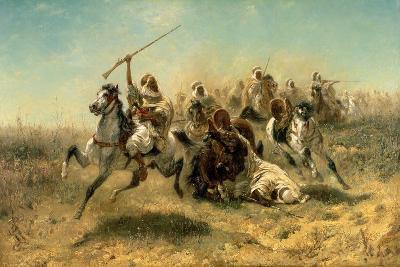 Arab Horsemen on the Attack, 1869-Adolf Schreyer-Giclee Print