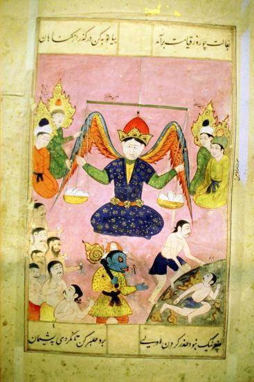 Arab Manuscript Depicting an Angel Weighing a Soul--Giclee Print