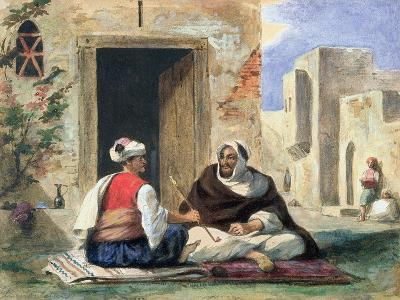 Arab Men Smoking in Front of a House-Eugene Delacroix-Giclee Print
