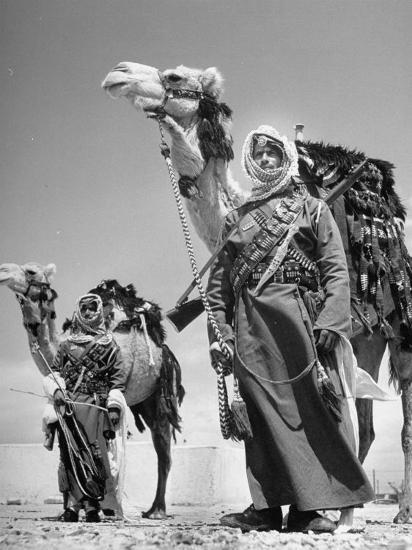Arab Soldiers Standing Guard with Their Camels-John Phillips-Photographic Print