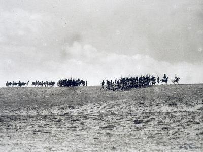 Arab-Somali Companies under Command of Italian Officers Marching in Desert--Giclee Print