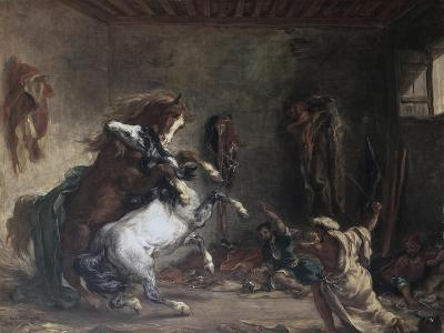 Arabian Horses Fighting in a Stable-Eugene Delacroix-Giclee Print