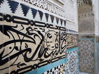 Arabic Calligraphy and Zellij Tilework, Bou Inania Medersa, Meknes, Morocco, North Africa, Africa-Martin Child-Photographic Print