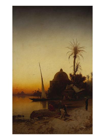 Arabs at Prayer by the Nile-Hermann Corrodi-Giclee Print