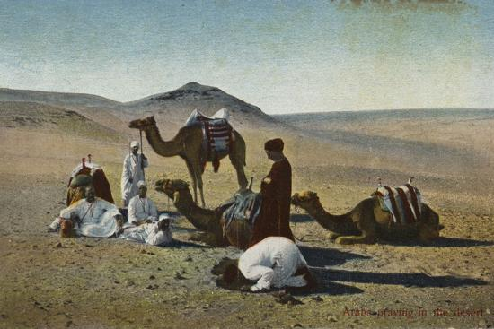 Arabs Praying in the Desert--Photographic Print